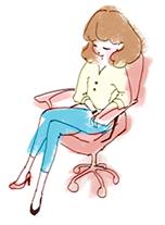 足を組んでいる女性のイラスト